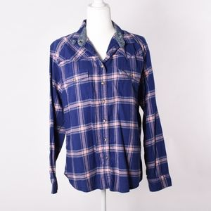 Jachs girlfriend blue and pink plaid top LARGE